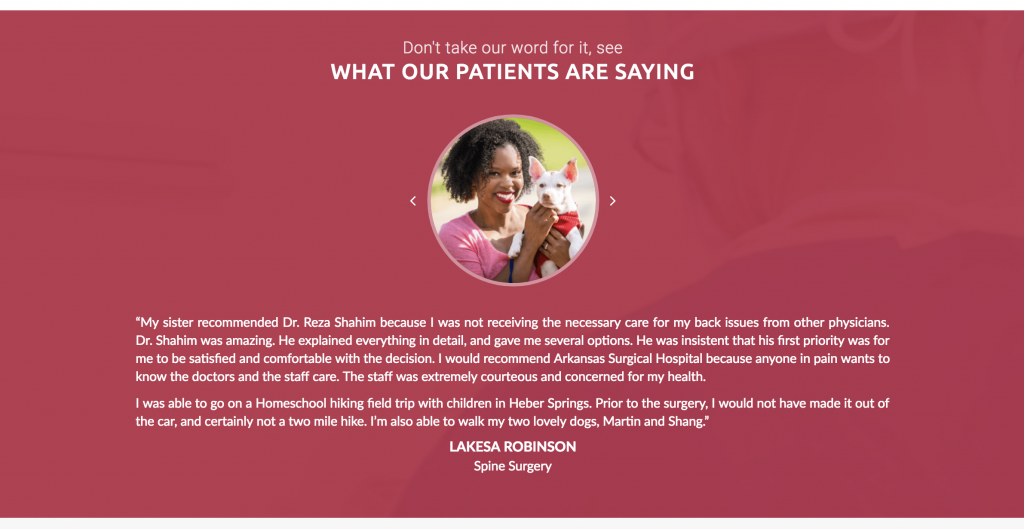 Healthcare website example - Patient Reviews Testimonials - Arkansas Surgical Hospital