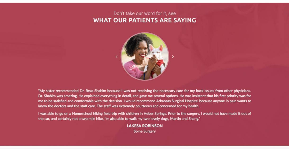 screenshot example of Arkansas Surgical Hospital website's Patient Reviews and Testimonials