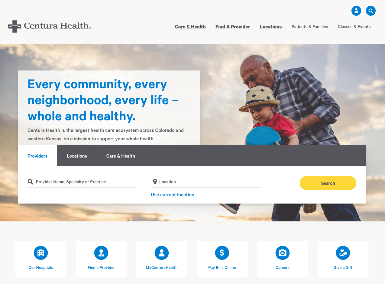 Healthcare Website Examples - Clean Design and Simple Easy Navigation - Centura Health