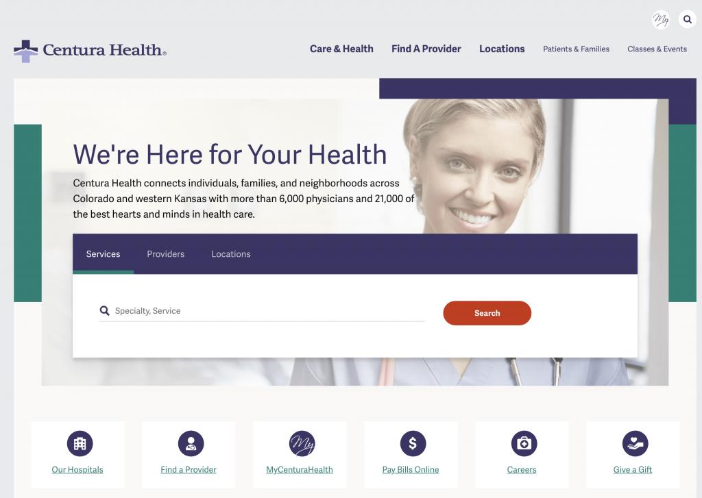 Healthcare Website Example - Centura Health