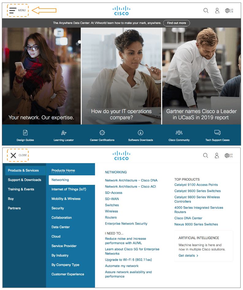 an example of the menu button on Cisco's website homepage