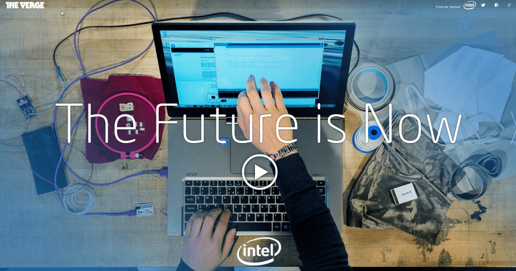 Sponsored Post Example from Intel showing hands using a laptop