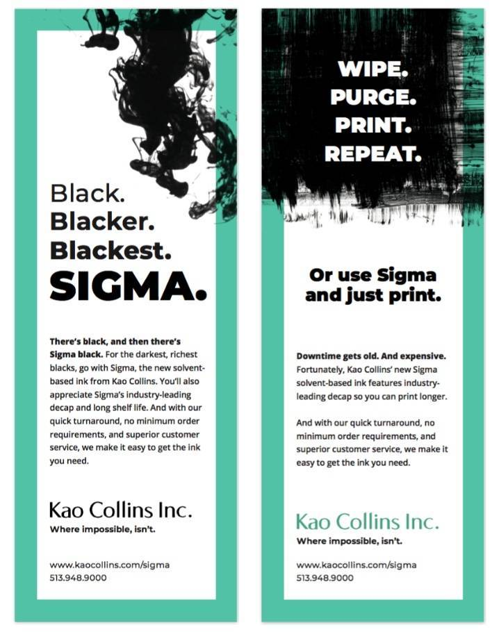 examples of our award winning b2b integrated marketing campaign for Sigma ink