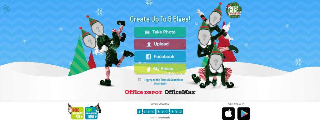 Graphic of elves for Elf Yourself Microsite Example from Offie Depot