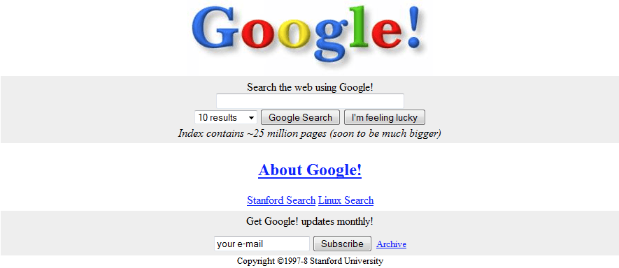 Google's first Search page when it launched in 1997