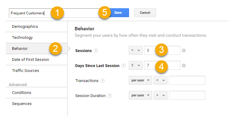 Graphic of Google Analytics showing how to segment for behavior.