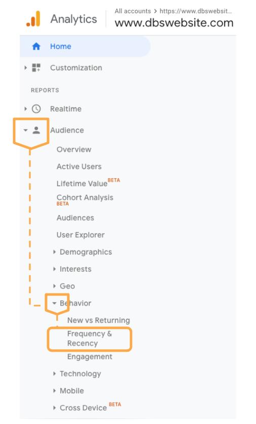 Frequency vs Recency menu choice in Google Analytics dashboard