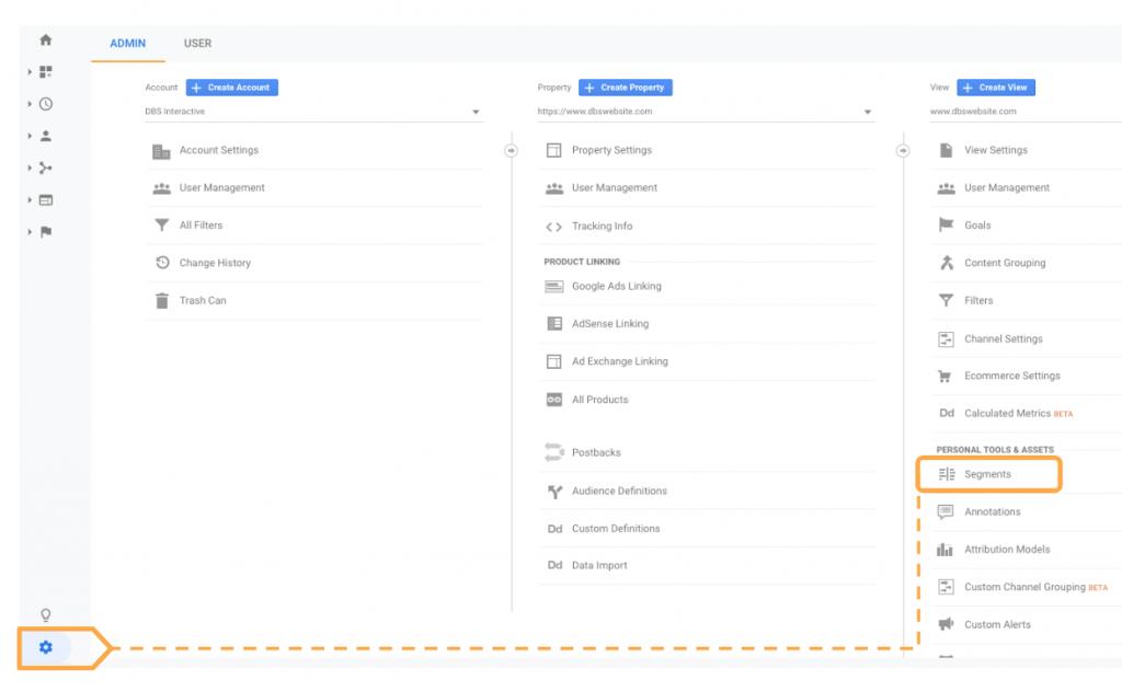 Add New Segment via Admin menu Google Analytics dashboard