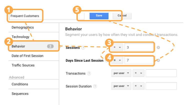 New Segment parameters frequency recency in Google Analytics
