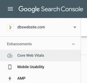screenshot of Google Search Console dashboard showing Core Web Vitals