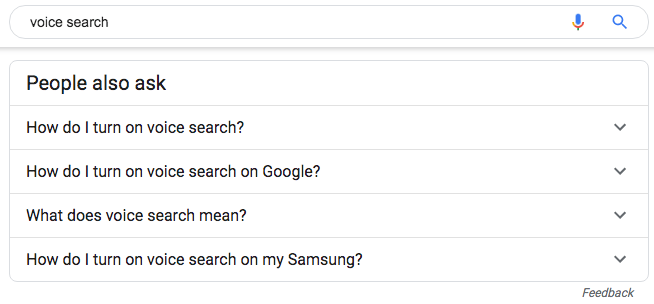 Google search example with People Also Ask
