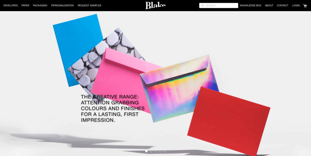 b2b website design Blake Envelopes homepage