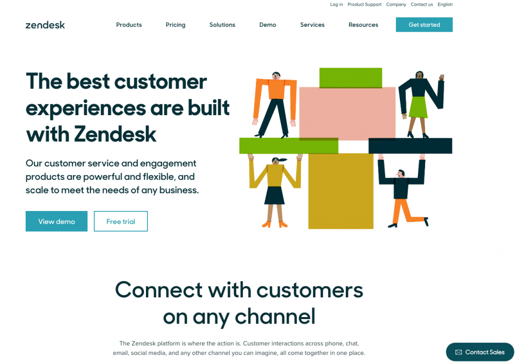 Great b2b website design Zendesk homepage