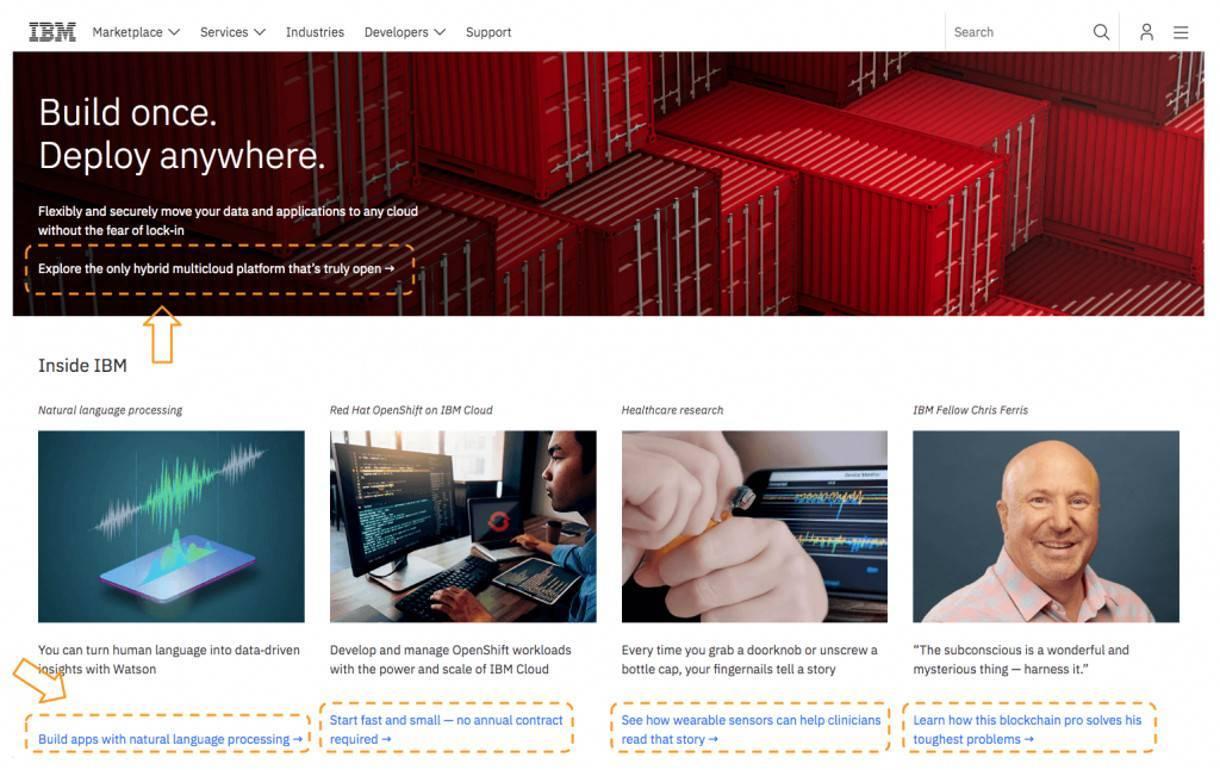 IBM 网站上的号召性用语示例