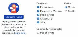 screenshot of the Lighthouse audit tool