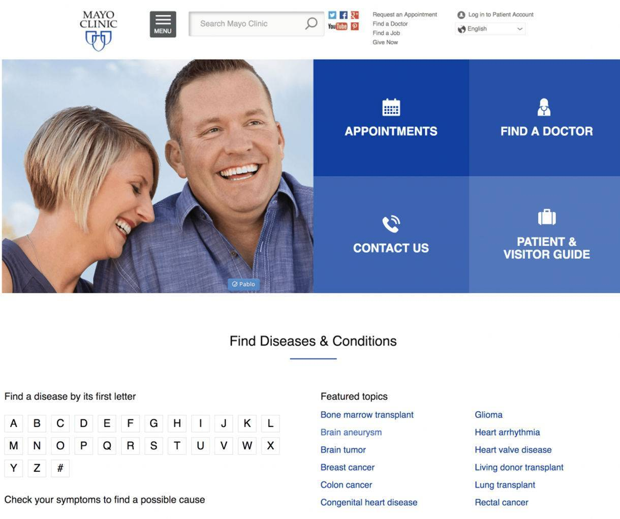 screenshot example of how Mayo Clinic website delivers Medical Information