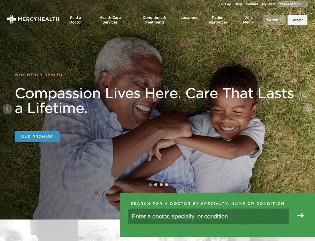 screenshot example of Mercy Health website's High Quality Imagery