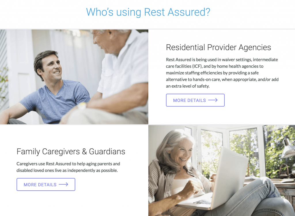 "RestAssured has website visitors ""self select"" to find information relevant to them."