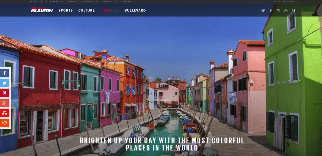 Screenshot of the Red Bull microsite shows how a specialty blog can succeed