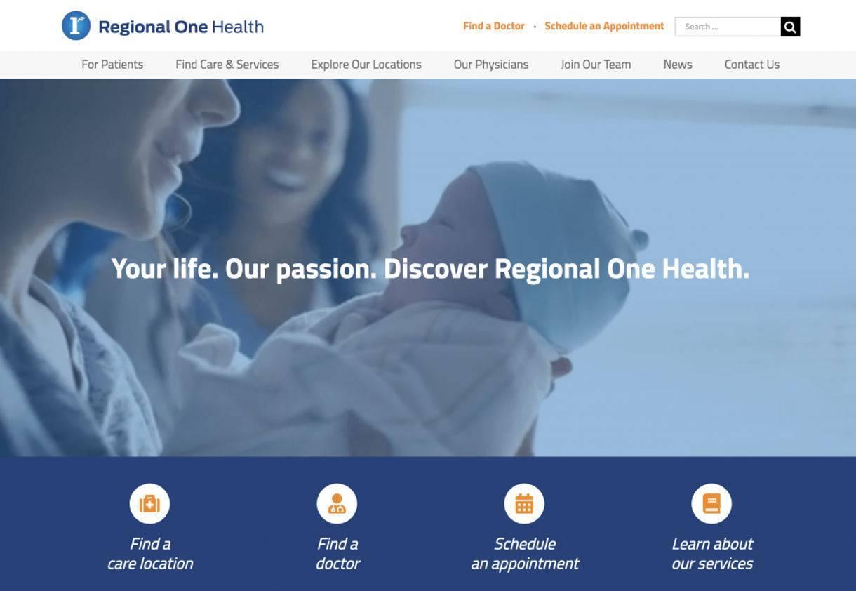 screenshot example of Regional One Health website's Engaging Videos