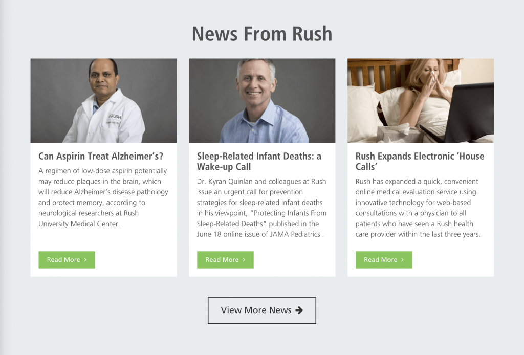 Healthcare website example - Engaging Content - Rush Medical