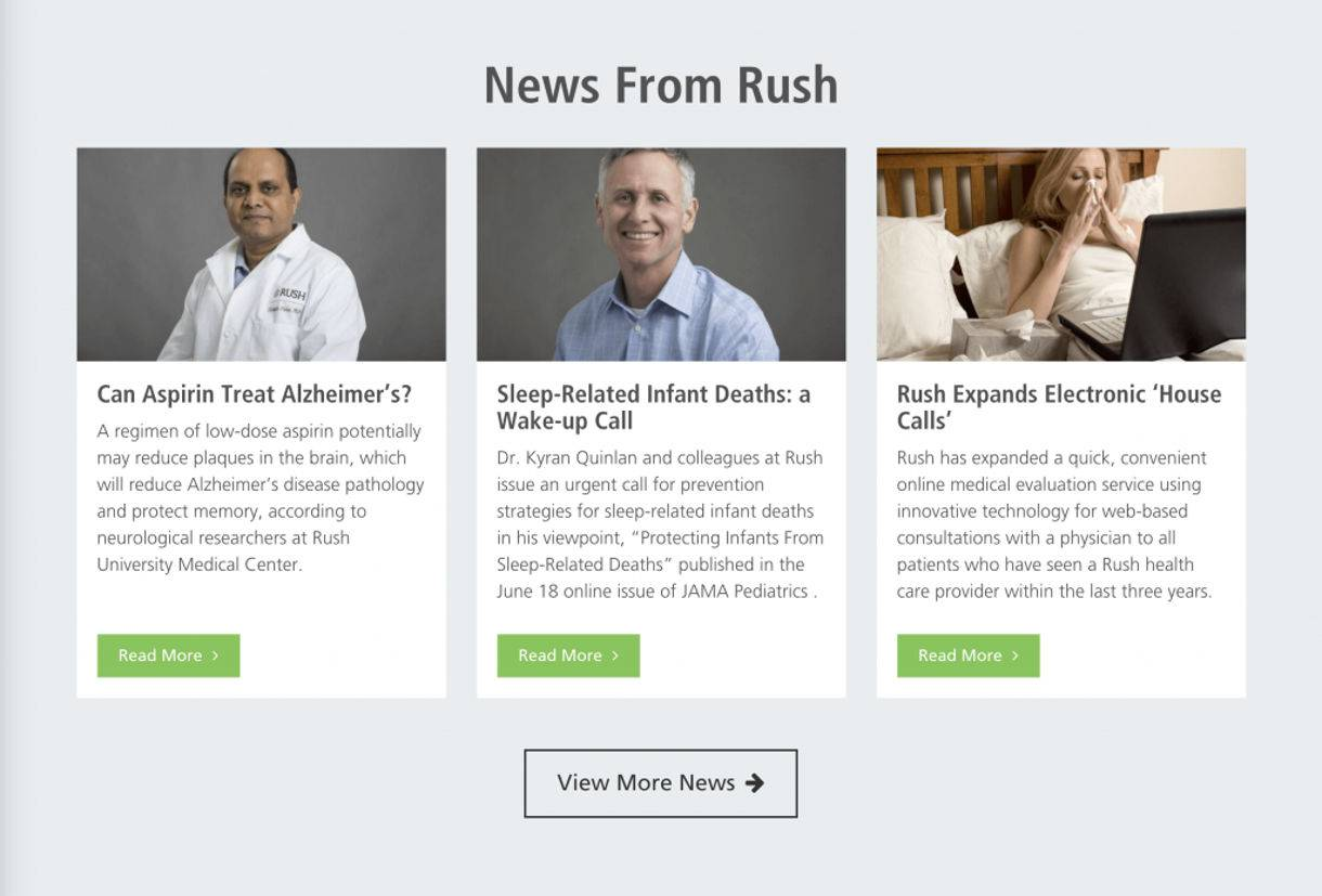 screenshot example of Rush University Medical Center website's Engaging Content