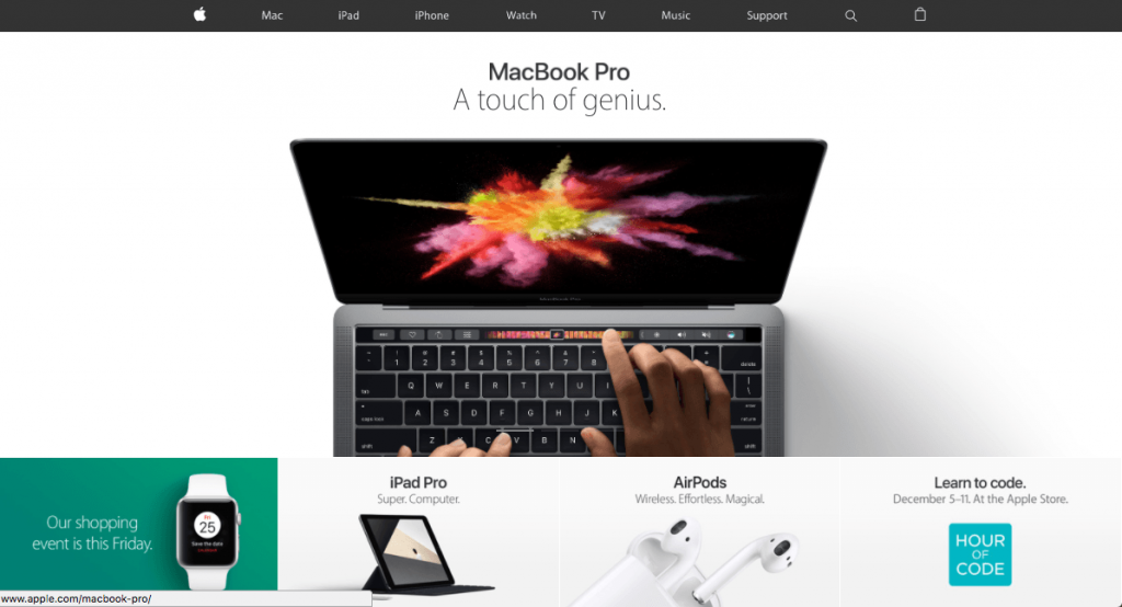 Apple's website using white background and negative space