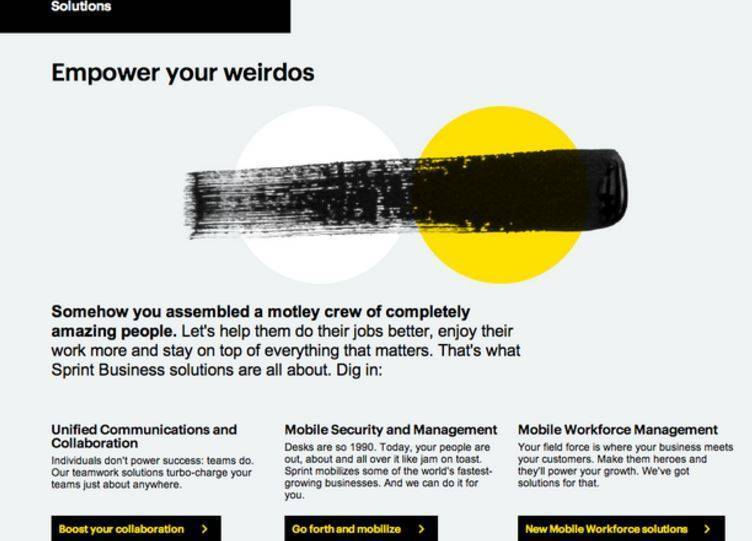 Screenshot from Sprint B2B page demonstrating quality content.