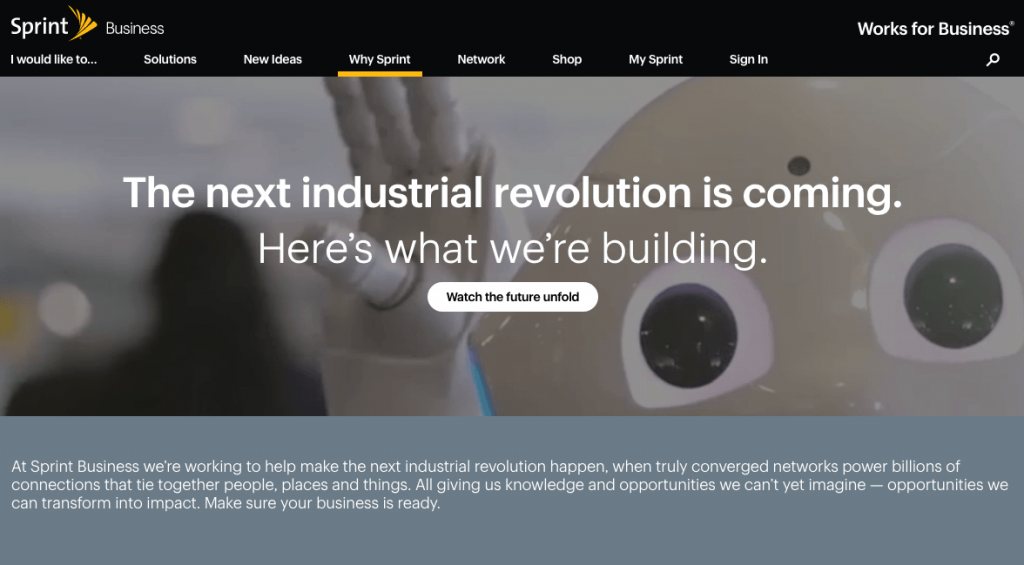 Screenshot of Sprint's Business website pages using motion and design to engage visitors