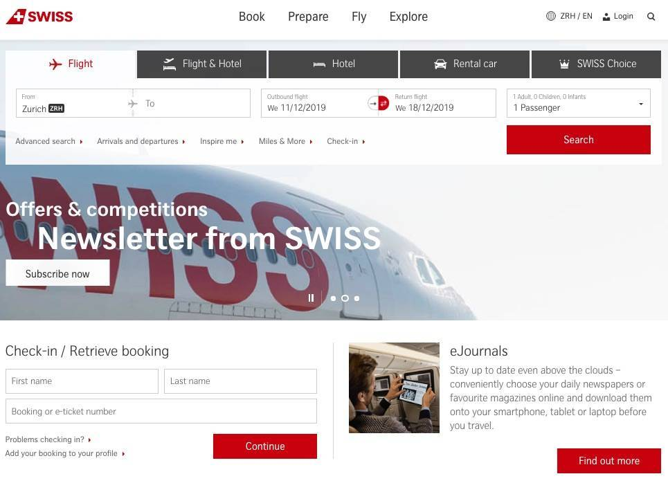 a screenshot of the Swiss Air website homepage as an example of web accessibility