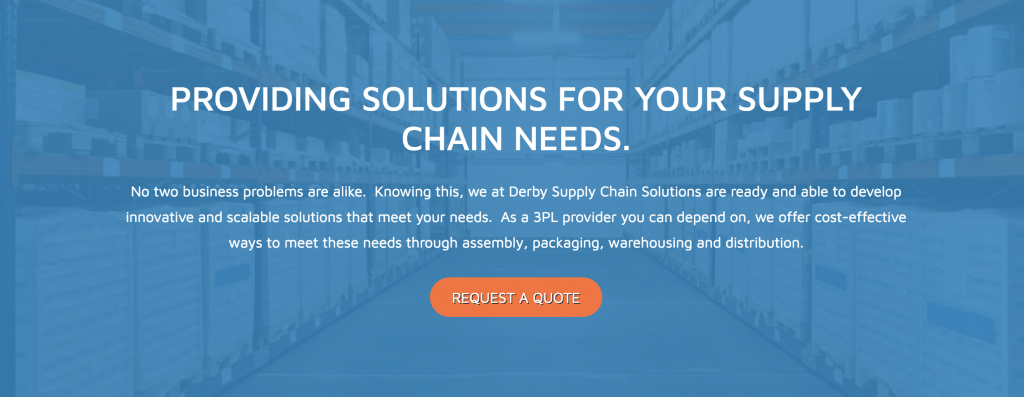 Derby Supply Chain Solutions communicates their value clearly on their homepage.