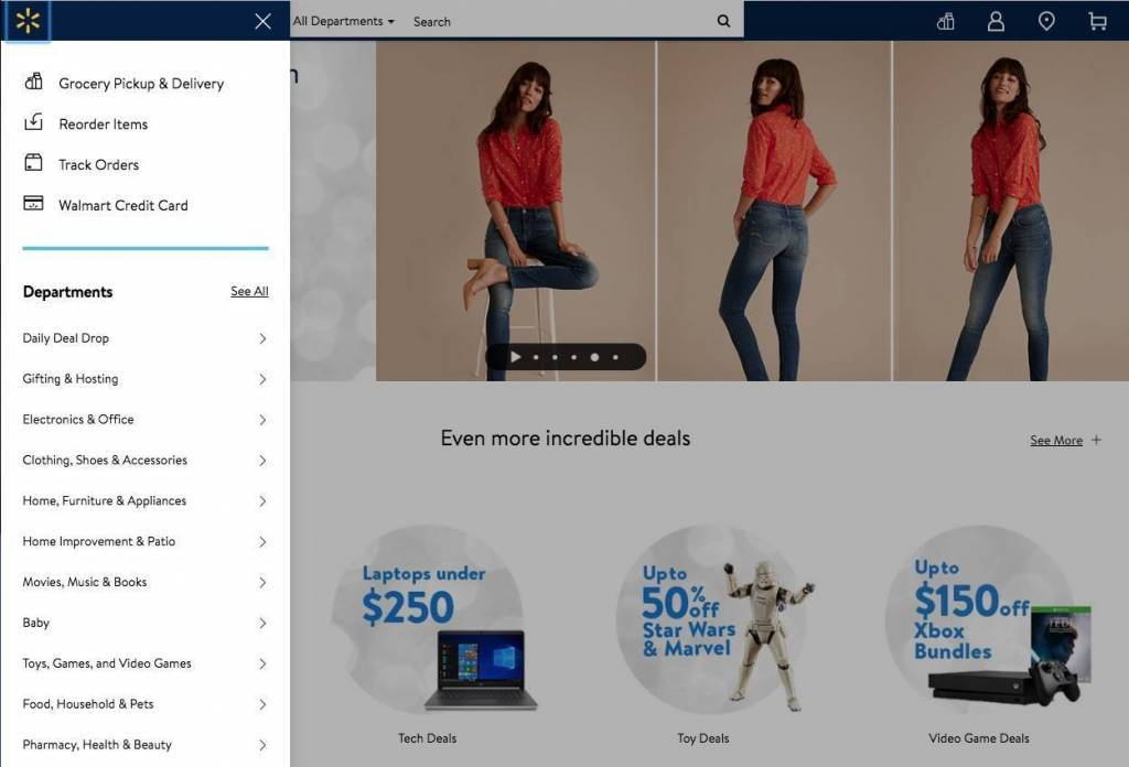 a screenshot of the Walmart website homepage navigation as an example of web accessibility