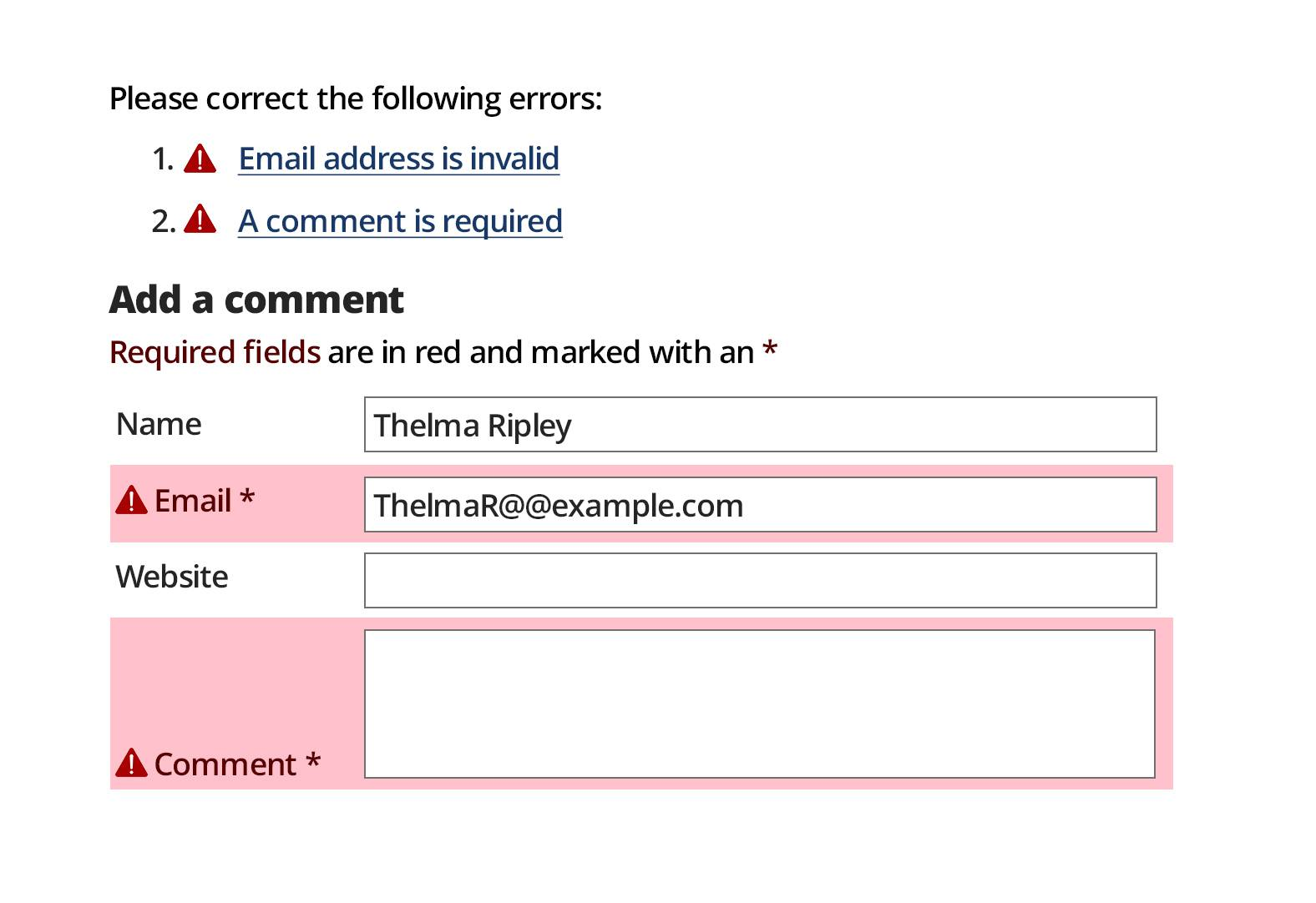 good accessibility form feedback example