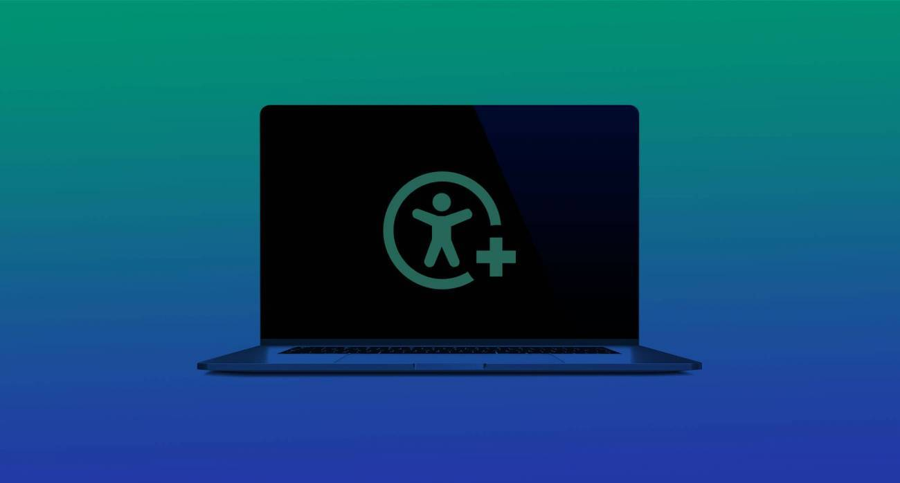 graphic illustration web accessibility icon on laptop with gradient background