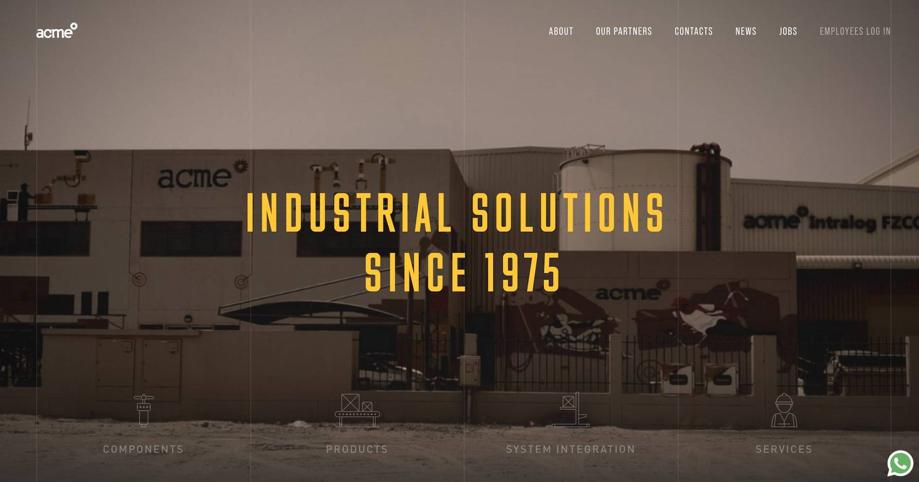 the b2b website home page for Acme that features functional minimalism in its web design