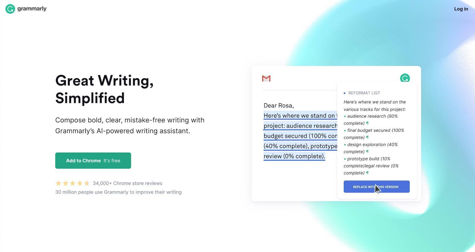 the b2b website home page for Grammarly that effectively uses web design elements to tell a story to users