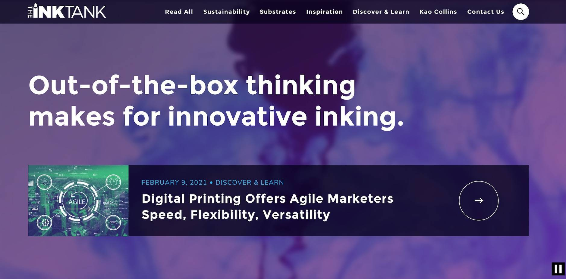 the homepage of Kao Collin's InkTank b2b website that features great quality content