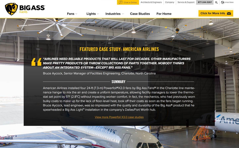 Screenshot of case study from the Big Ass Fans website