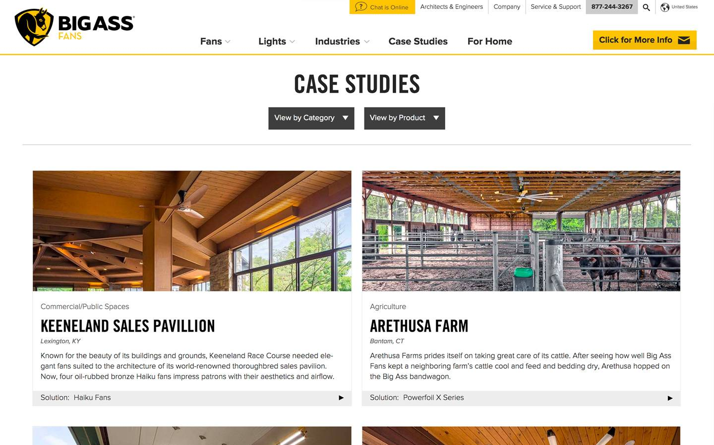 Screenshot of the Case Studies page of the Big Ass Fans website