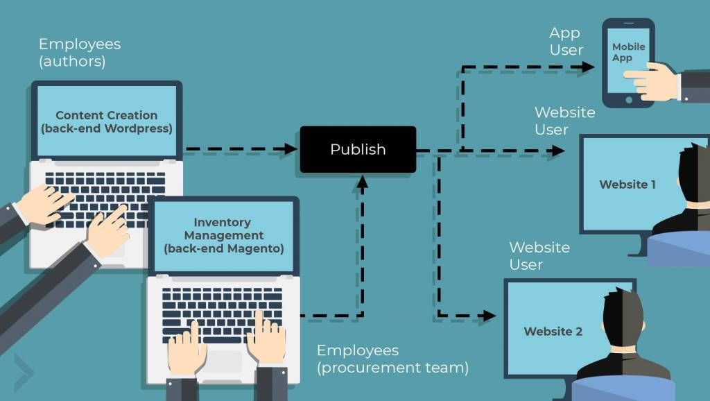 illustration of decoupled two back-end system publishing