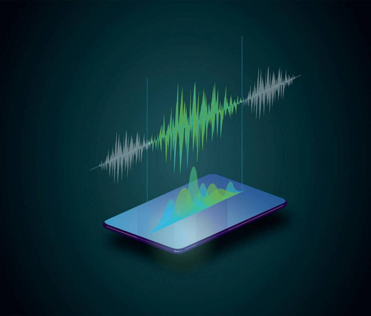 An illustration of a cell phone with a sound wave over it.
