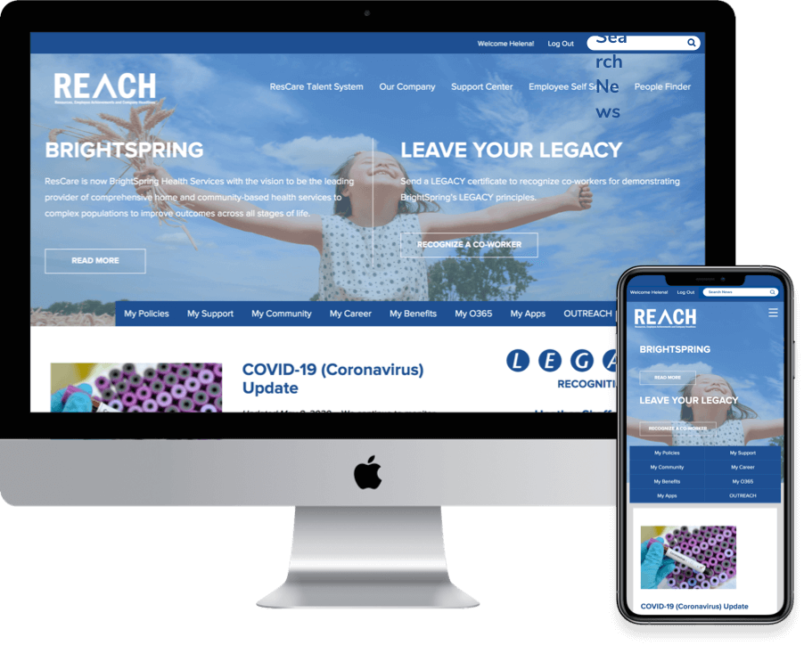 Example of an intranet developed for Brightspring Health.