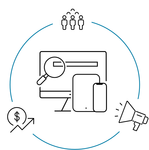 Illustration of a searching computer surrounded by people, financial data, and notifications.