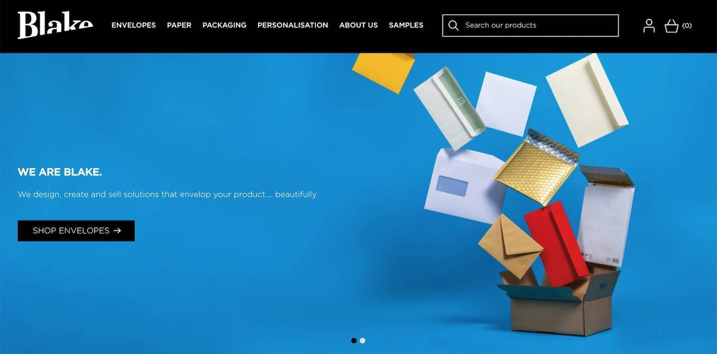 the Blake Envelopes b2b website homepage design that effectively emphasizes the quality of their products and brand
