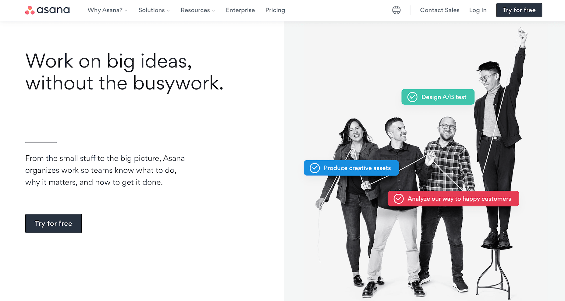 the Asana B2B website homepage design showing a prominent call to action button