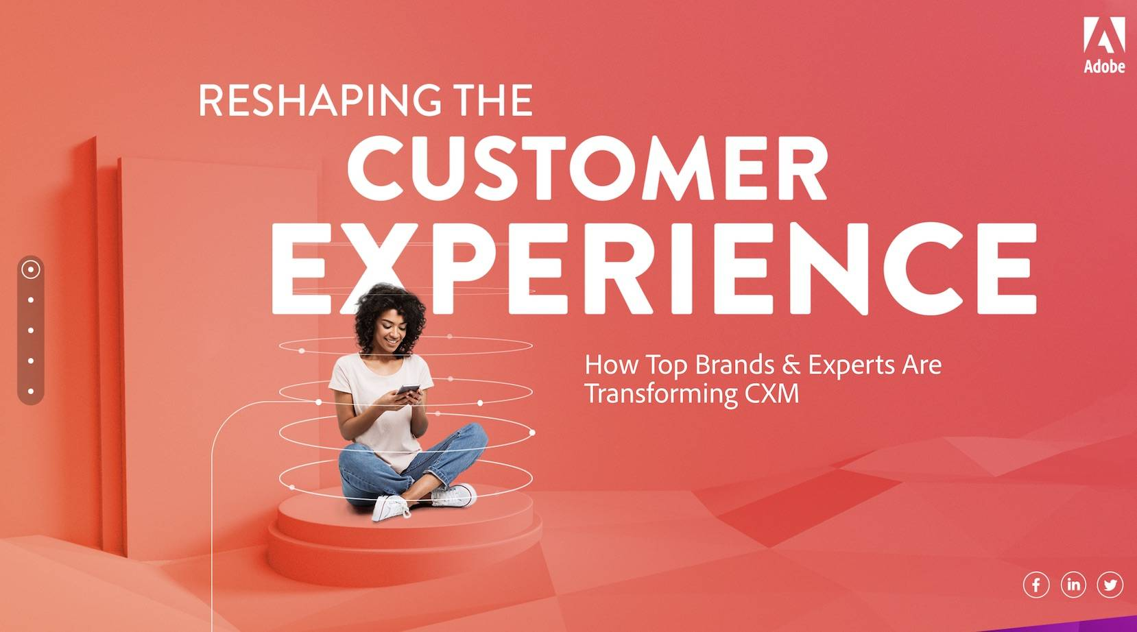 the Adobe CXM website homepage design for B2B audiences that effectively leads visitors through by telling a story