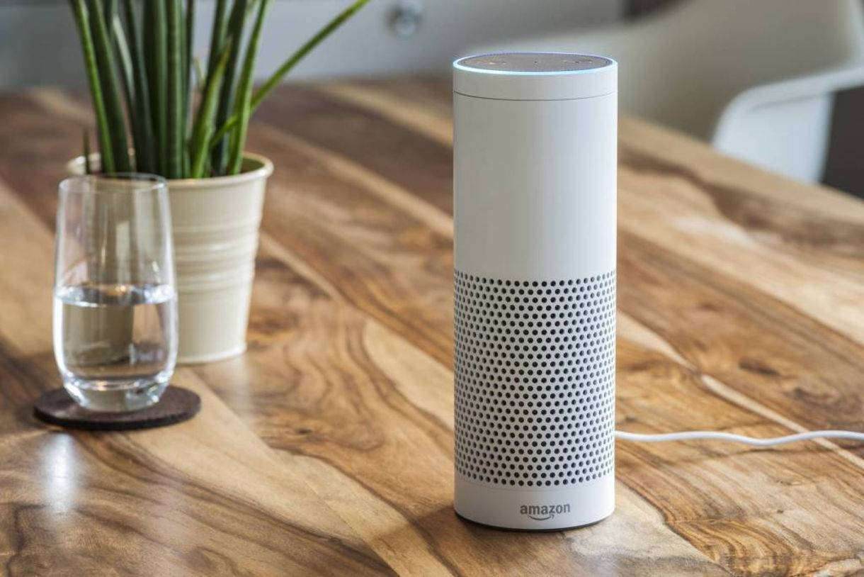 Amazon Echo smart speaker with Alexa voice assistant