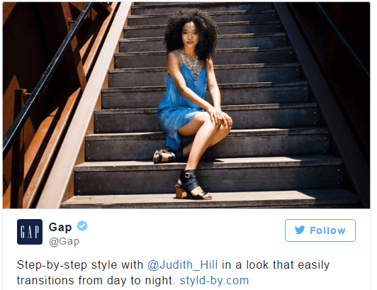 Graphic of example of Influencer Marketing from The Gap.