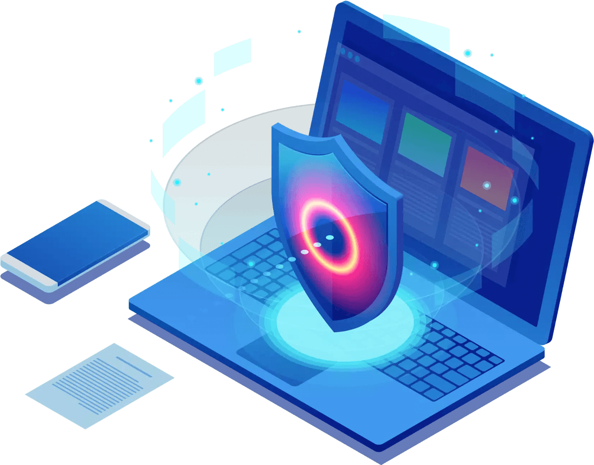 An illustration of a laptop with a security shield.