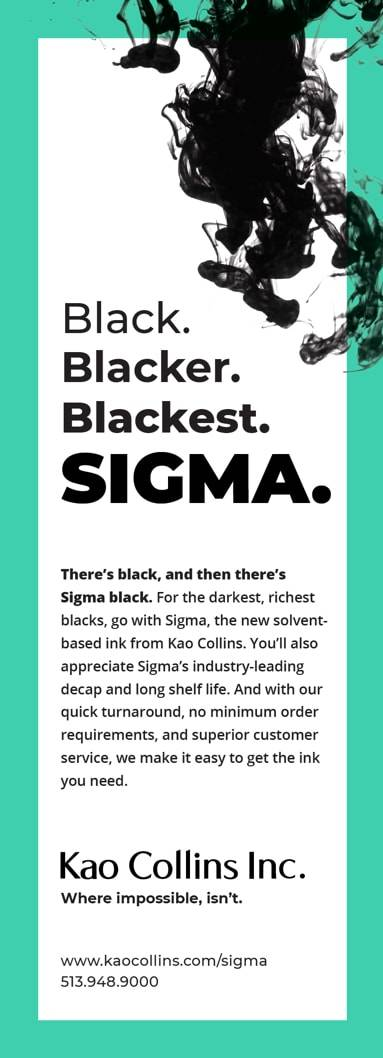 ad example designed by DBS Interactive promoting black ink product SIGMA
